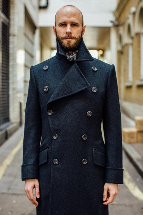 Edward Sexton charcoal overcoat