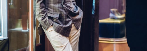 Anderson-Sheppard-bespoke-check-jacket-cream-trousers