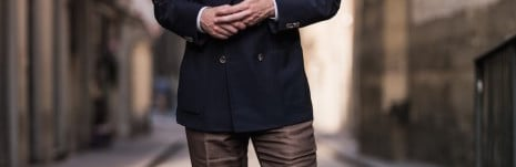 Caliendo-navy-hopsack-blazer-and-brown-linen-trousers-465x700