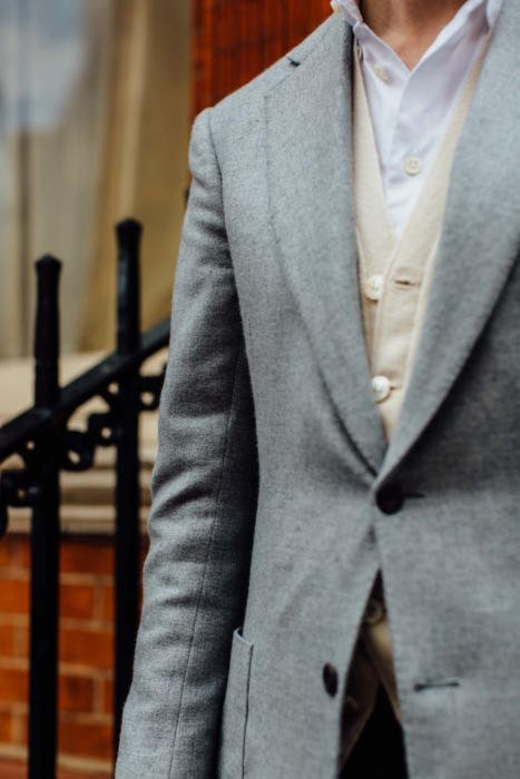 Grey jacket and cream cardigan