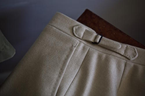 cream flannel bespoke trousers