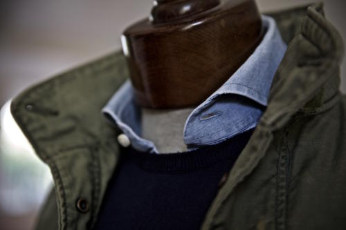 denim shirt and M45 jacket