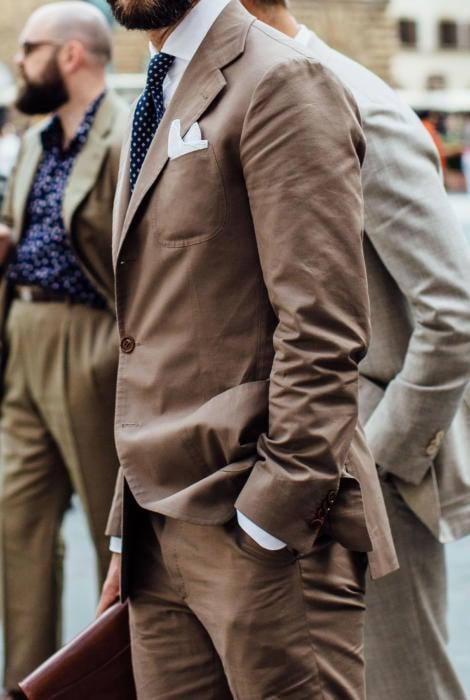 Cotton brown grey bespoke suit