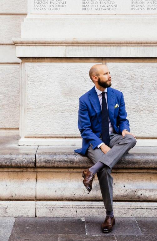 Blue linen jacket bespoke