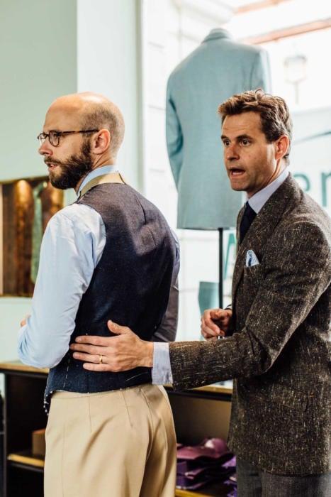 RIchard James bespoke waistcoat with Ben Clarke