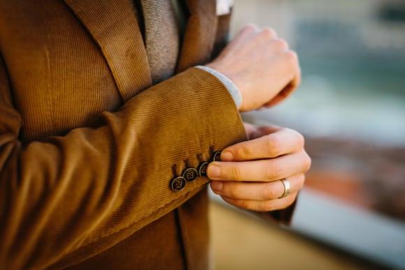 Sartoria Pirozzi corduroy suit cuff buttons