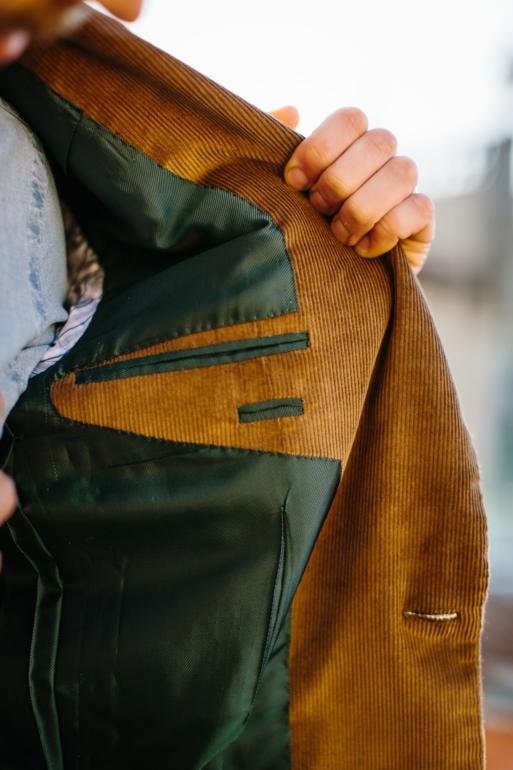 Sartoria Pirozzi corduroy suit lining green