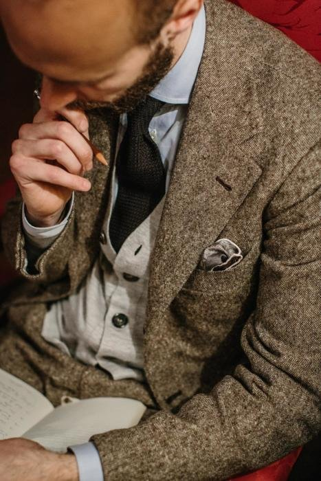 drapers donegal tweed suit brown