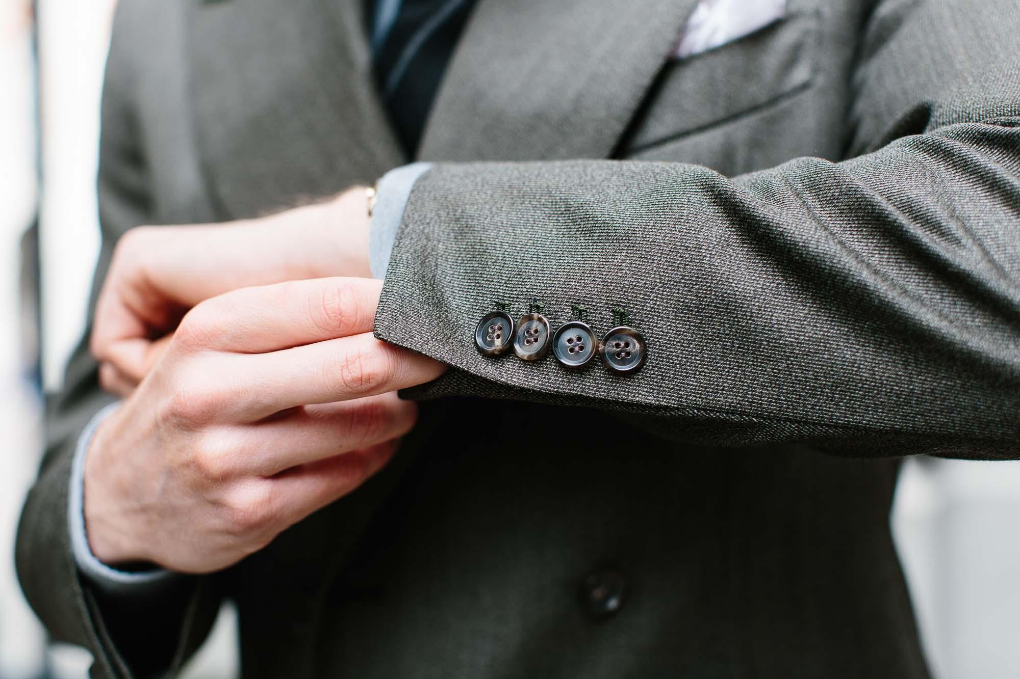24 Line Classic Shape Medium Grey 4 Holes Urea Horn Suiting Button