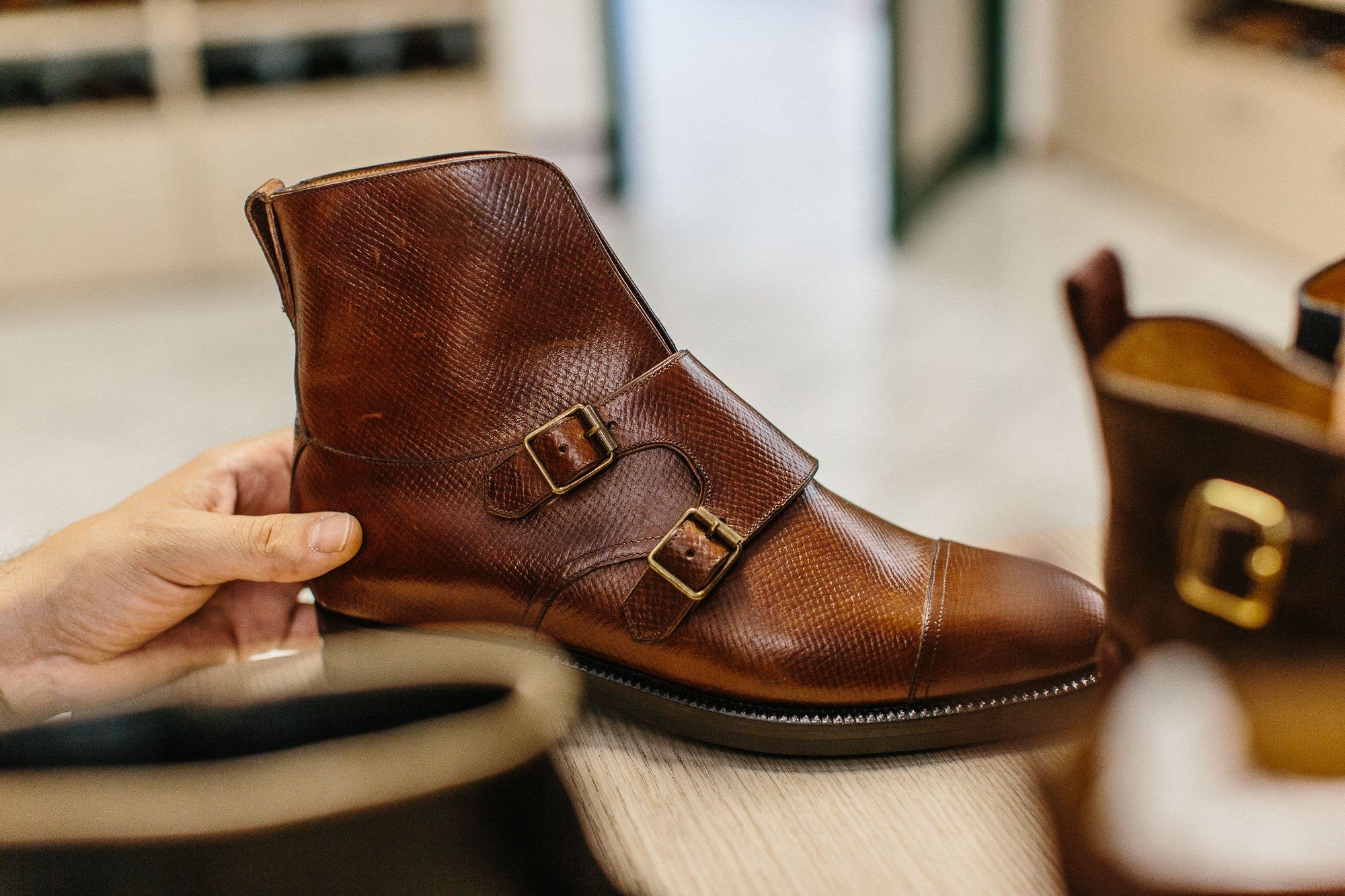 There is also a double-monk shoe that is made out of a single piece of  leather. (Both below.) 0169aa05b