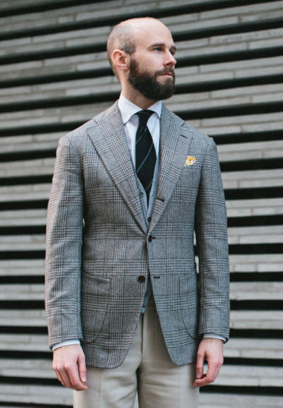 Grey checks with high-contrast shirt