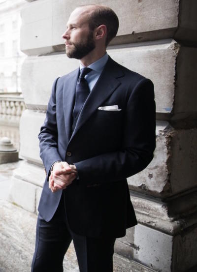 Navy suit, navy tie