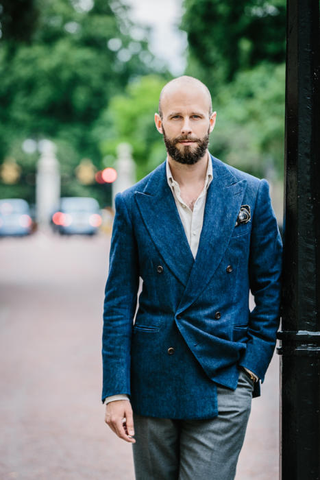 So the double-breasted jacket from Cifonelli pleases me because it is in a  soft but heavy Japanese denim, rather than wool or cashmere.