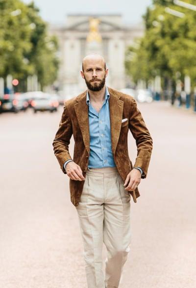 Suede jacket with denim shirt