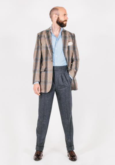 Bold check tweed jacket and flannels