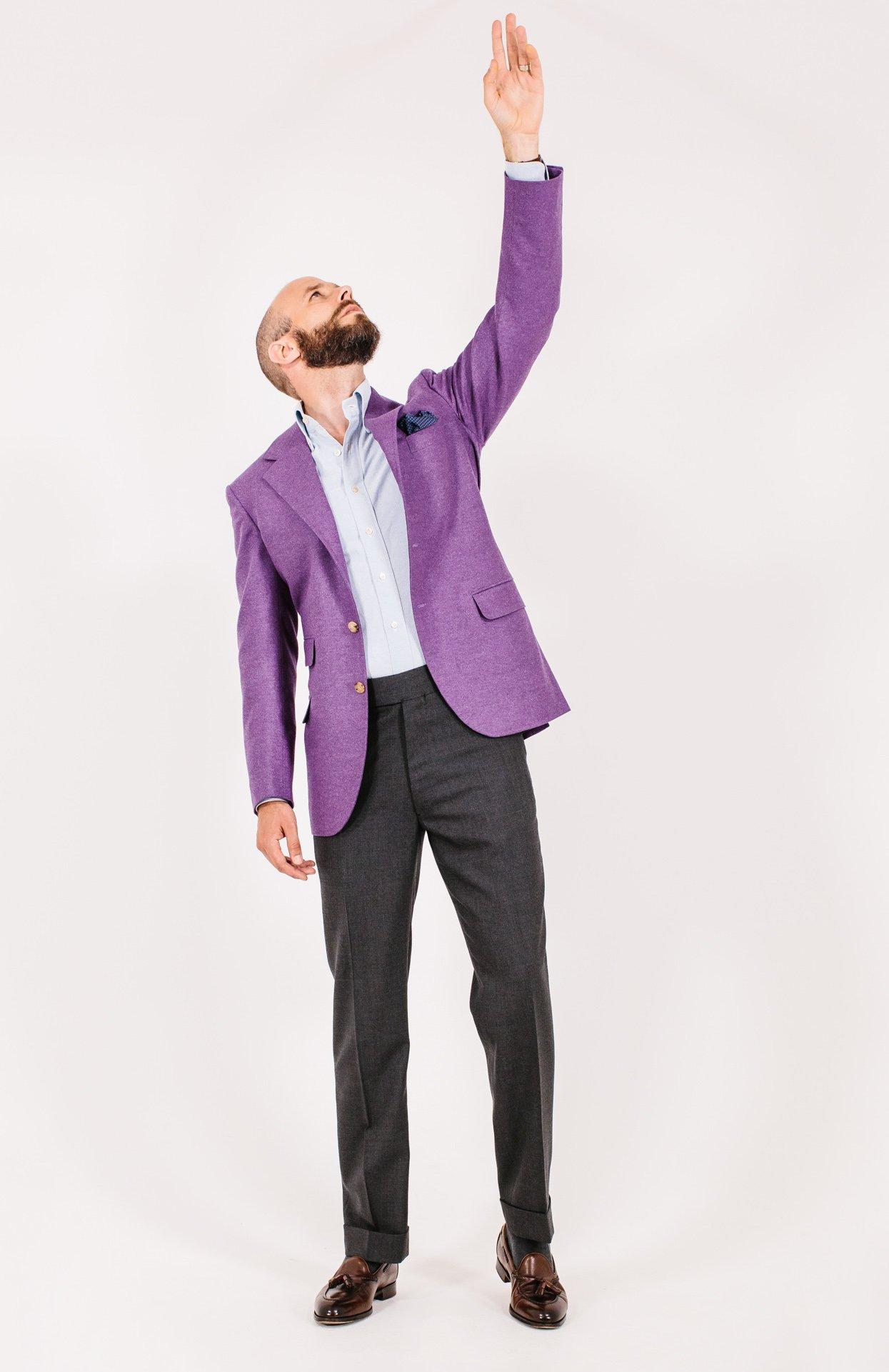 e12f3280f72 Liverano   Liverano purple jacket  Style Breakdown – Permanent Style