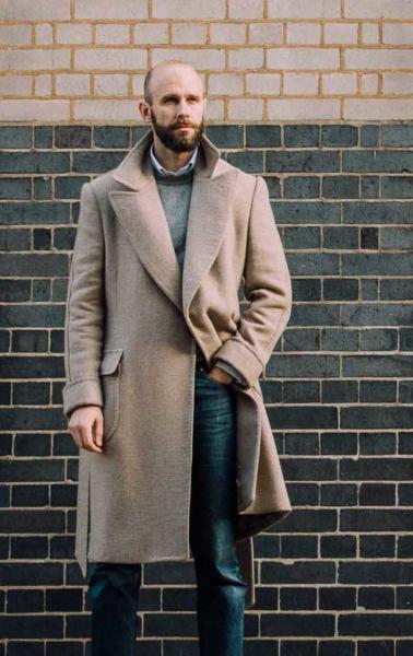 The wrap coat, with denim