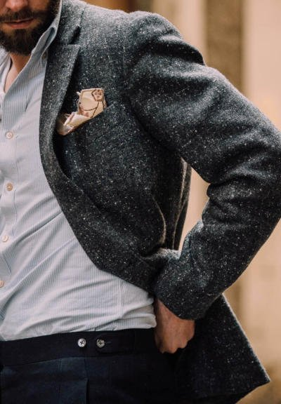 Donegal tweed with navy trouser