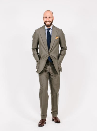 Green cotton suit with pop of orange