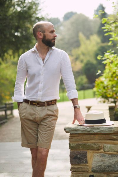 Shorts. With linen shirt