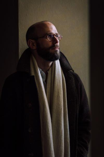 Cream shawl scarf under raglan