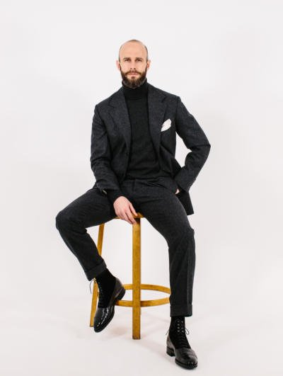 Charcoal roll neck under charcoal suit