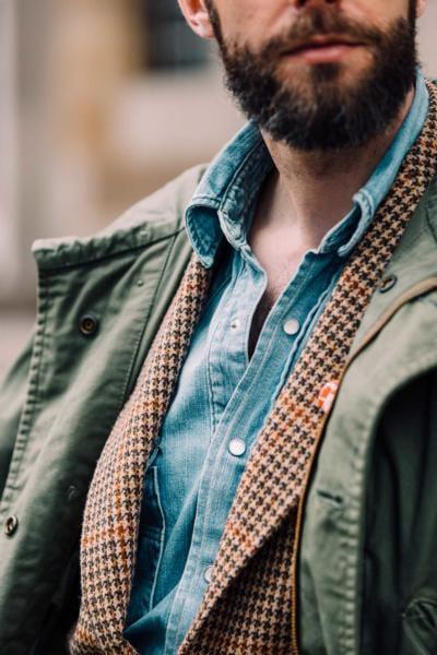 Vintage parka with tweed jacket