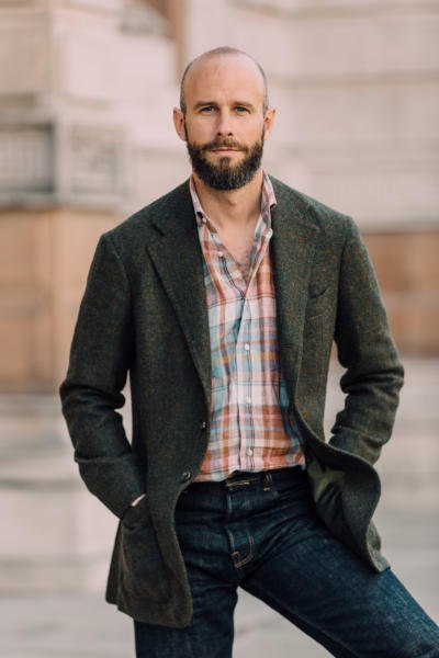 Madras shirt, with green tweed and jeans