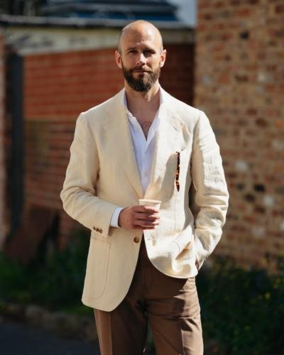 Cream jacket with tonal look, browns