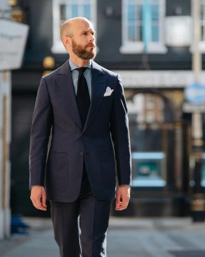 Navy cotton suit with chambray shirt