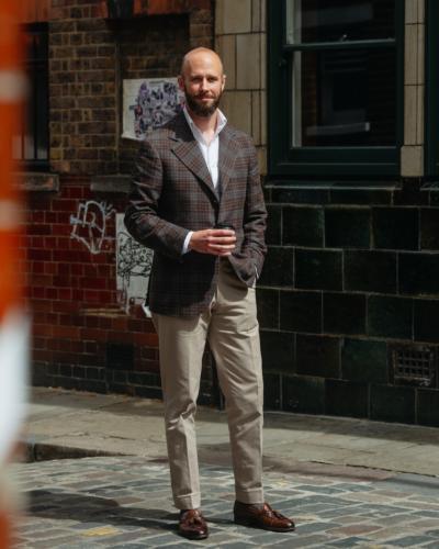 Zegna brown/grey checked jacket