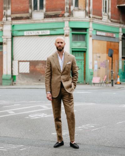 Summer linen suit without a tie
