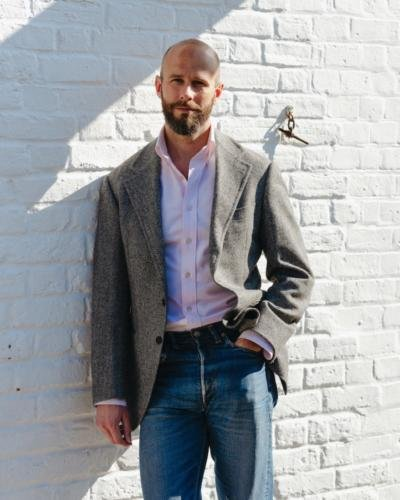 Pink oxford, tweed and jeans