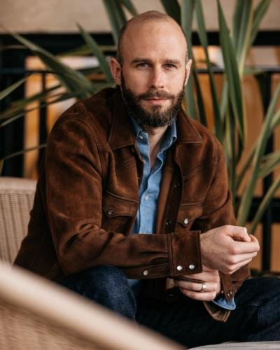 Chambray shirt and suede cowboy jacket
