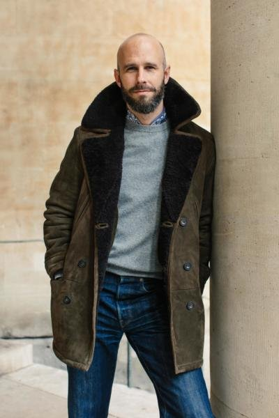 Shearling coat with jeans and bandana