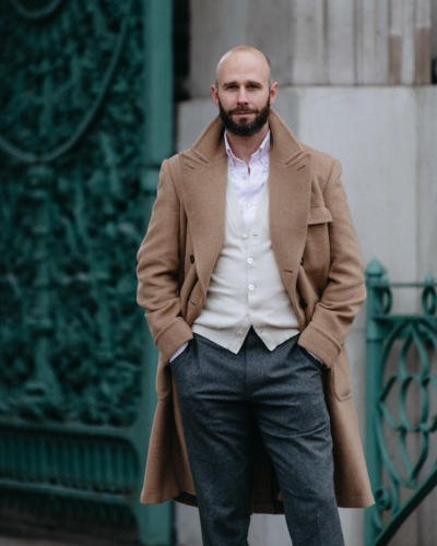 Pink shirt, cream knit, flannel trouser