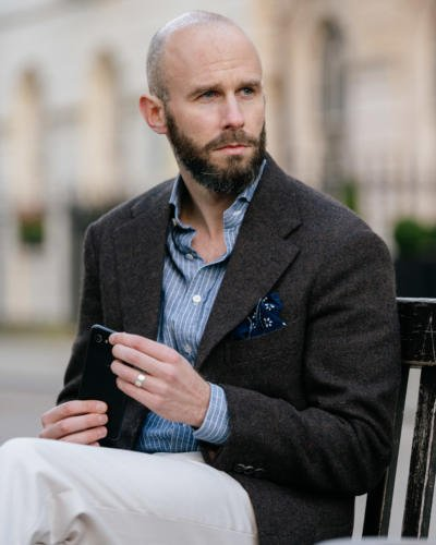Dark-brown tweed and striped chambray