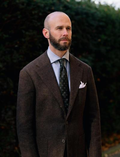 Dark-olive tie, brushed shirt and tweed jacket