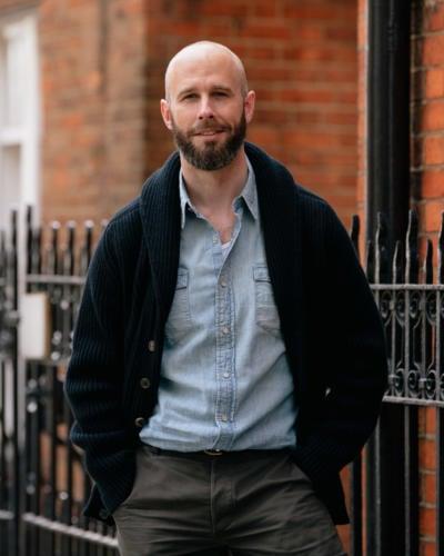 Western shirt under black shawl cardigan