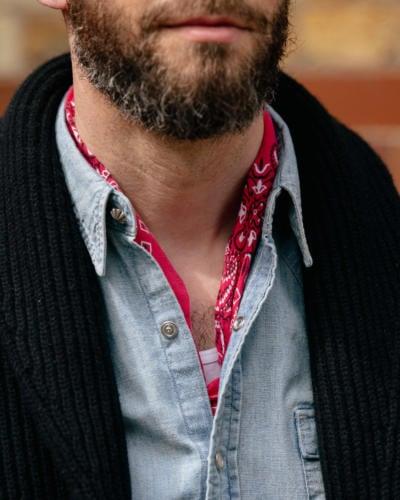 Red bandana under Western shirt
